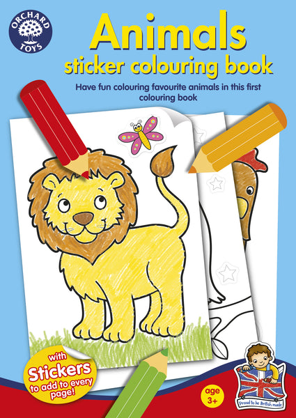 Animals Sticker and Colouring Book