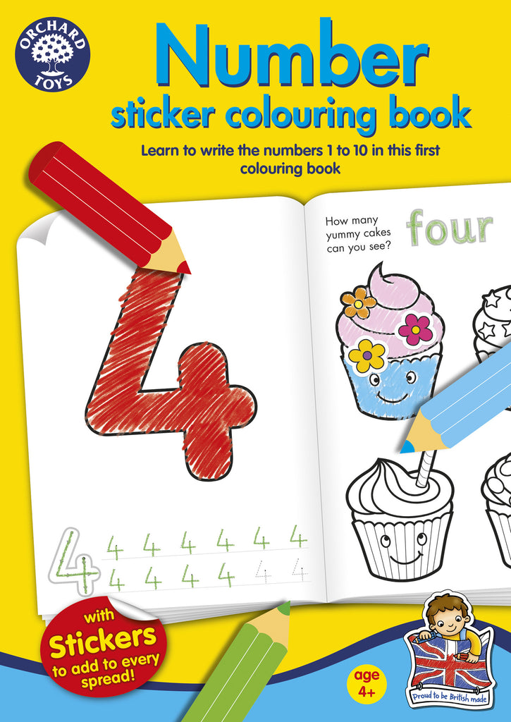 Number Sticker And Colouring Book