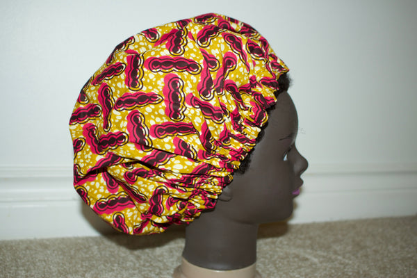 Satin Lined Ankara Bonnet yellow/pink