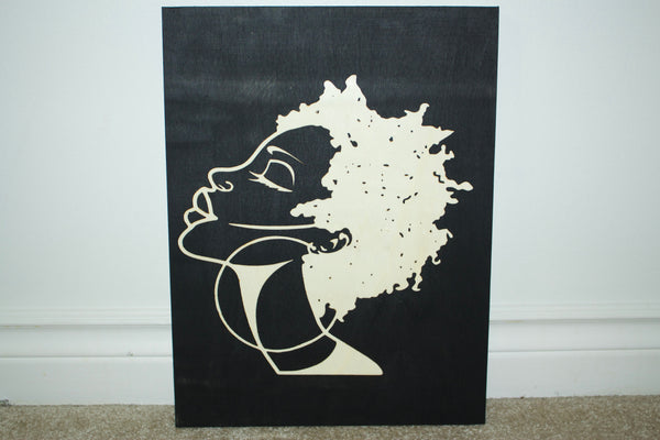 Woman wood panel - Black
