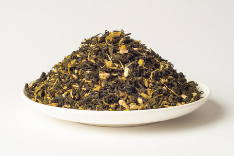 No.210 Lime Blossom & Chamomile - Green tea infusion of Wu-Lu tea is infused with a complex lemony chamomile aroma. The lime tree blossoms, chamomile and a hint of ginger are layered with elderflowers, marigold and sunflower blossoms to create a unique and relaxing blend.