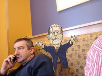 Campuppets at Panera's with Frankenstien and Joe