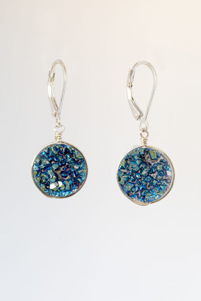 Teal Druzy Earrings in Silver
