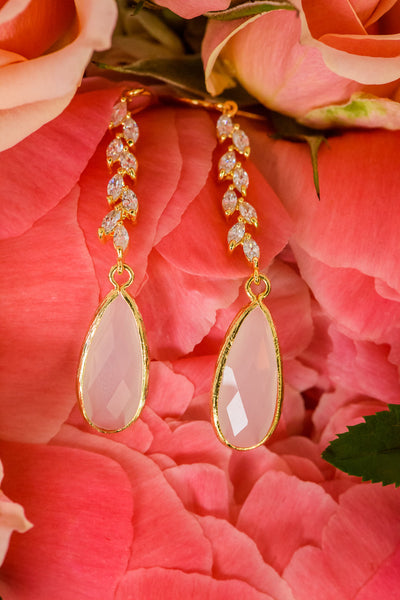 Gold opal crystal vine couture bridal earrings for bohemian natural modern wedding bridesmaids gift, by J'Adorn Designs, Baltimore Maryland couture and custom jewelry studio, photography by Nichole Rosado Meredith