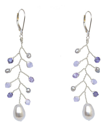 Silver and purple delicate vine bridal earrings with sterling silver wire wrapping, freshwater pearls, and Swarovski crystals. Handcrafted artisan bridal jewelry by J'Adorn Designs.