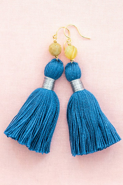 Royal blue tassel earrings, yellow and blue tassel earrings, high quality tassel jewelry, summer jewelry trends, gemstone tassel earrings, by J'Adorn Designs custom jewelry made in Baltimore Maryland