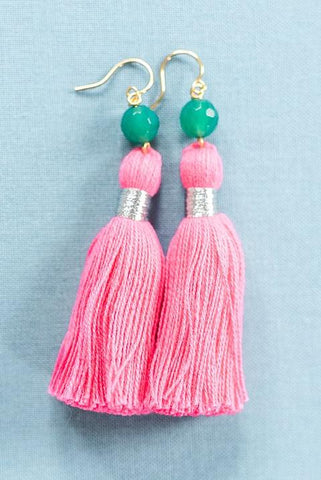 Tassel & Gem Earrings in Pink & Green