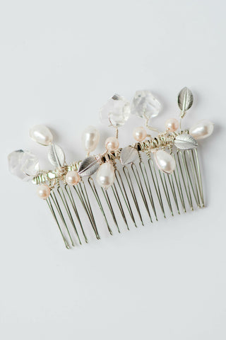 Simple & intricate couture handcrafted hair comb; Hand-wired white Swarovski® round & teardrop pearls with crystal quartz nuggets & silver leaves; by J'Adorn Designs, Baltimore Maryland couture and custom jewelry studio, photography by Nichole Rosado Meredith