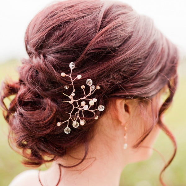 Rose gold bridal hairpiece with pearls and crystals by J'Adorn Designs