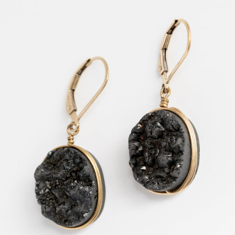 Black druzy oval gemstone earrings in yellow gold, handcrafted jewelry by J'Adorn Designs