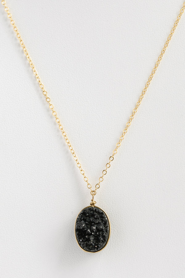 Black and gold druzy necklace, druzy pendant necklace in yellow gold, sparkly black gemstone necklace, edgy jewelry, alternative non feminine jewelry by J'Adorn Designs custom jeweler in Maryland