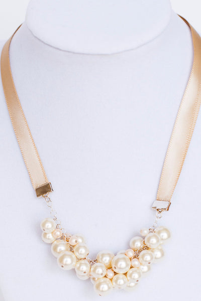 Pearl Ribbon Bow Tie Necklace in Blush
