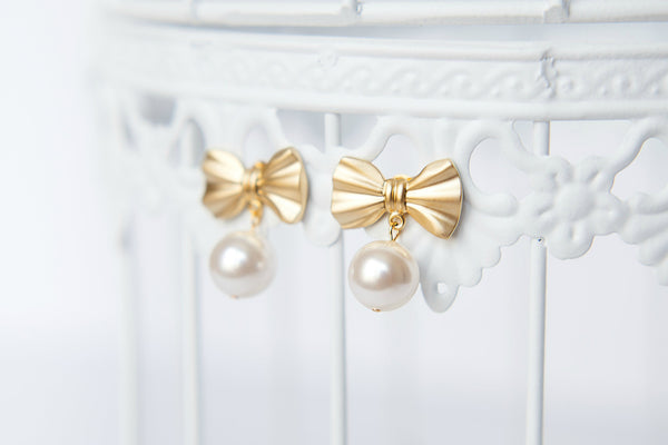 Bow and Pearl Gold Custom Bridal Earrings by J'Adorn Designs