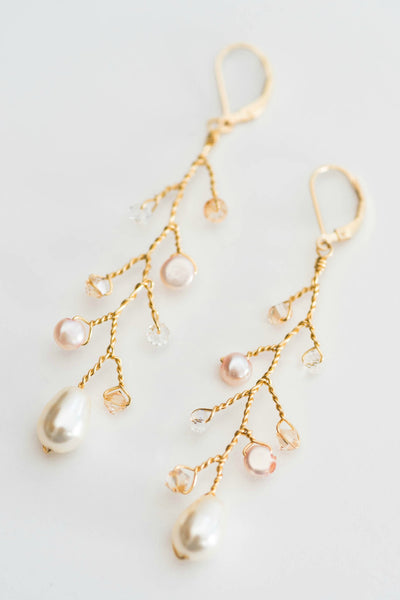 Crystal and pearl branch wedding earrings by J'Adorn Designs artisan wedding jewelry and hair accessories