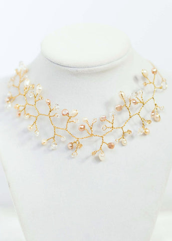 Bridal choker necklace, gold vine wedding necklace by J'Adorn Designs