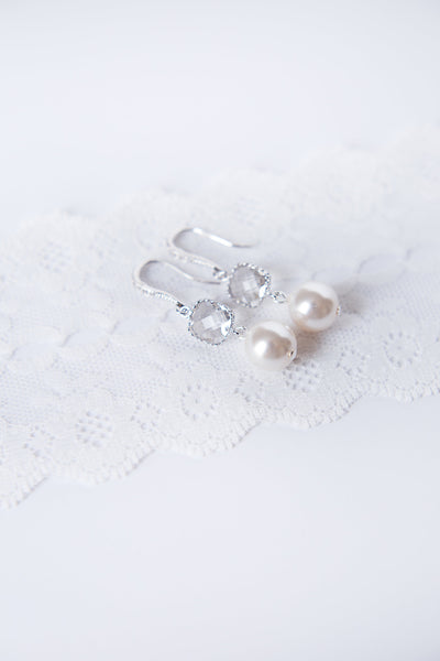Cushion stone wedding earrings, white and silver bridal jewelry, modern luxury bridal accessories by J'Adorn Designs