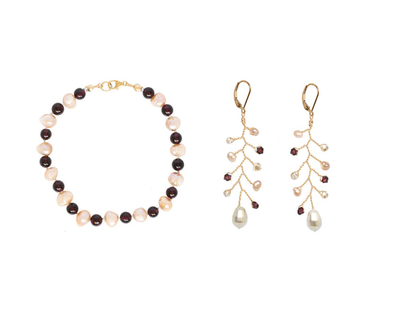 Our pink pearl and garnet bracelet pairs perfectly with our delicate gold vine earrings in merlot and blush colors. All jewelry from J'Adorn Designs is made by hand at our artisan jewelry studio in Baltimore, Maryland.