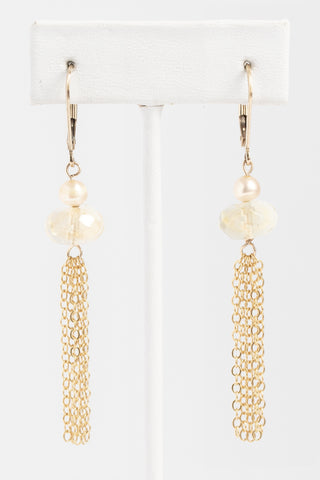 Citrine and gold freshwater pearl earrings with gold chain tassels; Handcrafted gemstone earrings by J'Adorn Designs custom jewelry