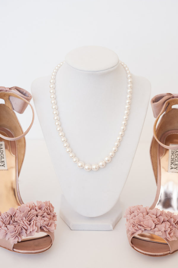 Pearl necklace, classic bridal jewelry, preppy necklace, Modern bridal jewelry by J'Adorn Designs