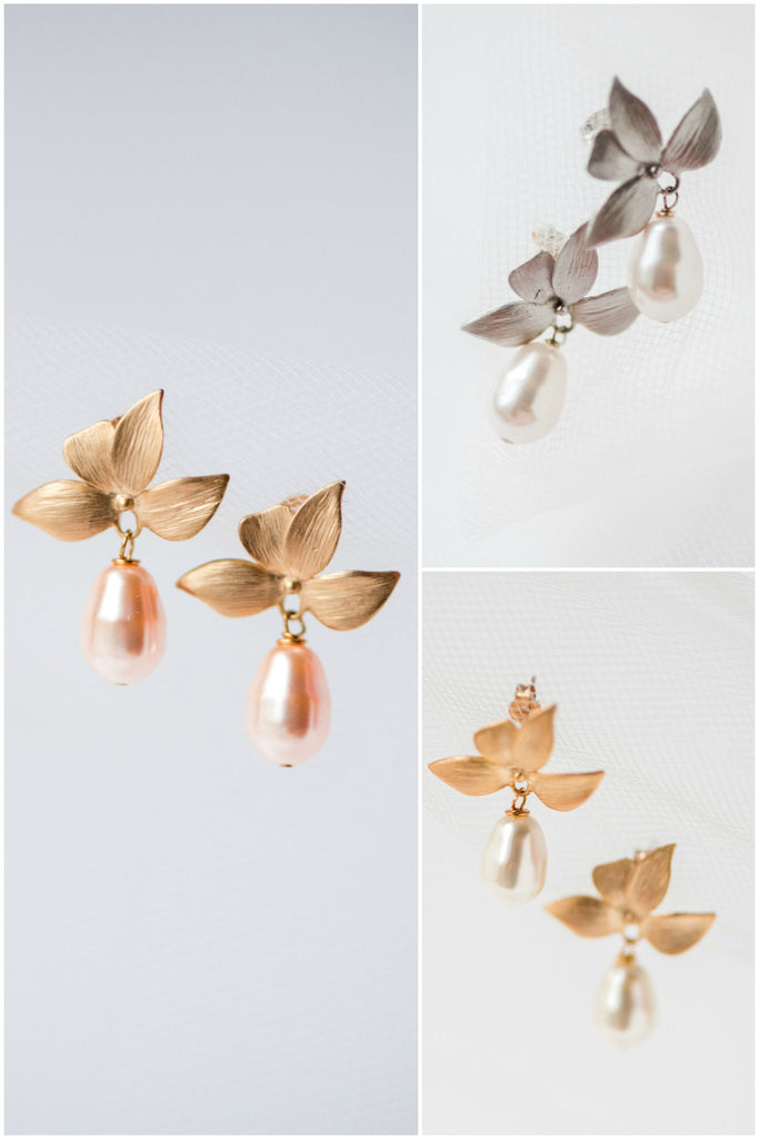 Leaf cluster earrings with large teardrop pearl in gold or silver, peach white or ivory, by J'Adorn Designs custom jewelry studio