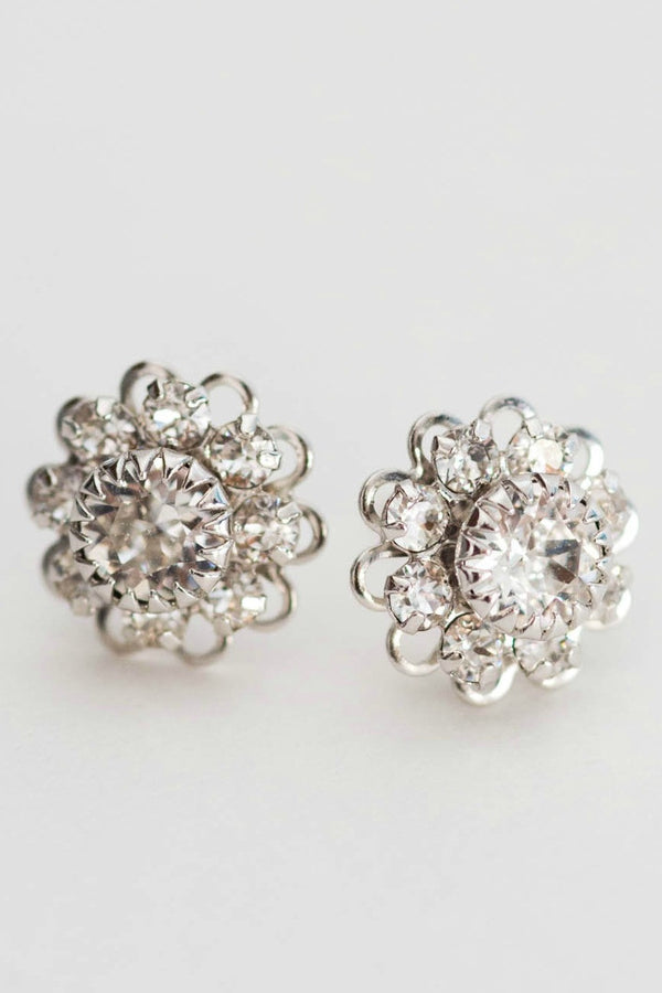 Vintage crystal post earrings, silver wedding studs by J'Adorn Designs