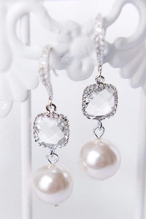 Cushion cut bridal jewelry, pearl and crystal earrings, modern luxury wedding jewelry by J'Adorn Designs