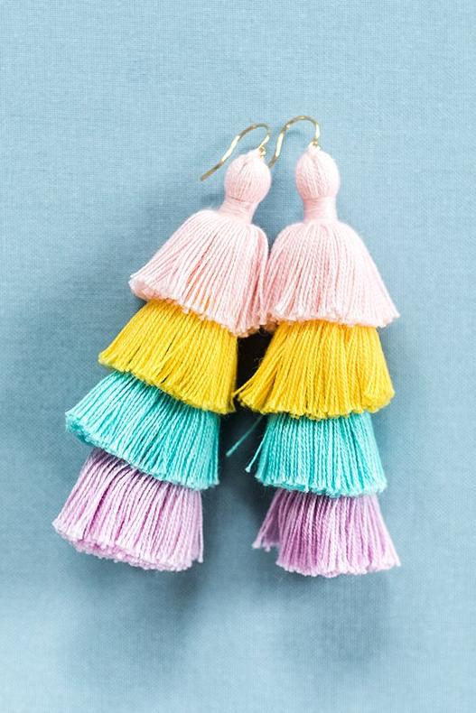 Rainbow tassel earrings, tiered tassel earrings, large tassel earrings, comfortable statement earrings, trendy spring jewelry by J'Adorn Designs Maryland jewelry designer