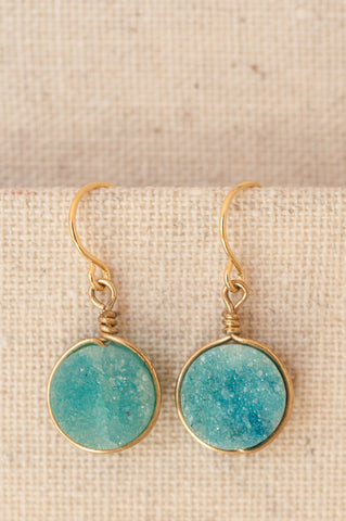 Aqua blue druzy earrings in gold. Modern custom jewelry handmade by J'Adorn Designs.