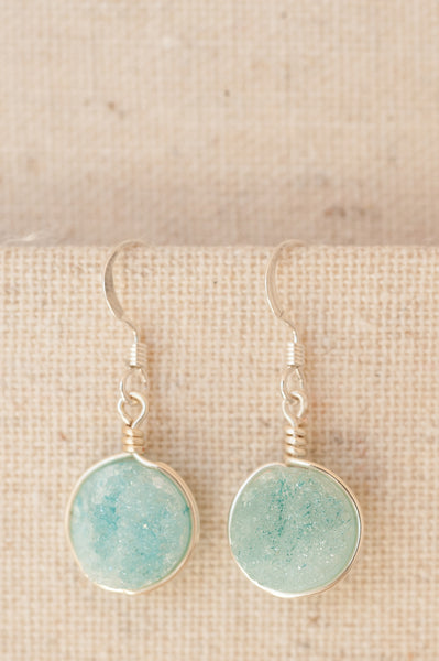 Aqua blue druzy earrings in silver. Modern custom jewelry handmade in Maryland by J'Adorn Designs.