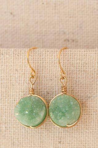 Mint green druzy earrings in silver or gold. Modern custom jewelry handmade in Maryland by J'Adorn Designs.