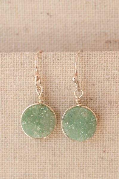 Mint green druzy earrings silver or gold. Modern custom jewelry handmade in Maryland by J'Adorn Designs.
