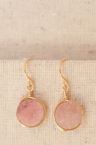 Rose quartz pink druzy earrings in gold. Modern custom jewelry by J'Adorn Designs.