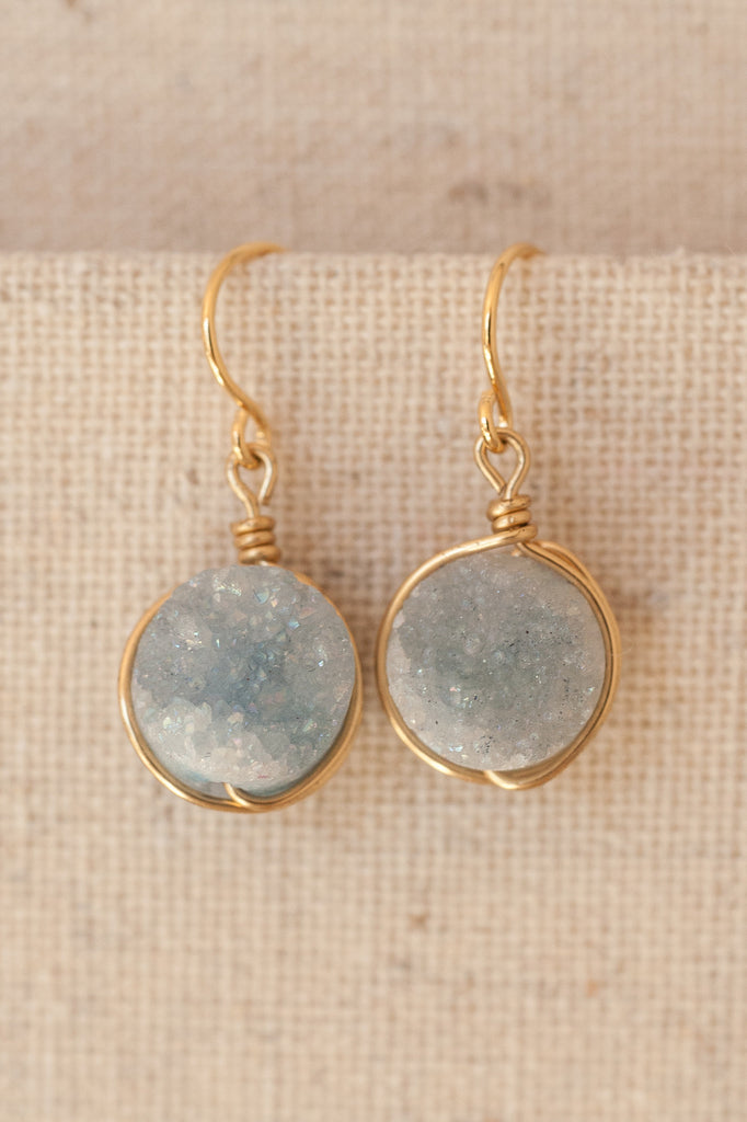 Serenity periwinkle gemstone druzy earrings in gold or silver by J'Adorn Designs custom jewelry