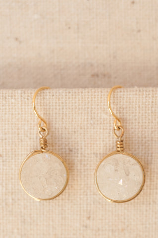 Elegant simple white druzy gemstone earrings in silver or gold, by J'Adorn Designs custom jewelry