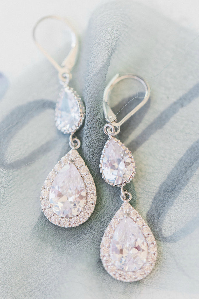 Sparkly teardrop bridal earrings, halo earrings by J'Adorn Designs