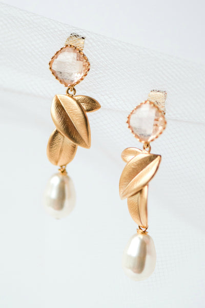 Blush peach crystal gold leaf teardrop pearl bridal formal earrings for bride or bridesmaid gift by J'Adorn Designs, Baltimore Maryland couture and custom jewelry studio