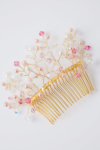 Limited edition warm color bridal hair comb of hand-formed gold wire branches with freshwater pearls, Swarovski® crystals in pink, crystal clear, & golden blush; by J'Adorn Designs, Baltimore Maryland couture and custom jewelry studio, photography by Nichole Rosado Meredith