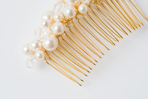 Classic pearl bridal comb, traditional wedding jewelry by J'Adorn Designs