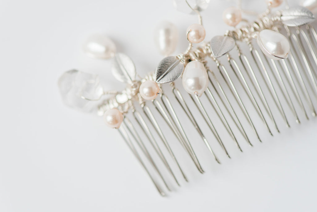 Amina Crystal Hair Comb w/ Silver Leaves & White Pearls – J\'Adorn ...