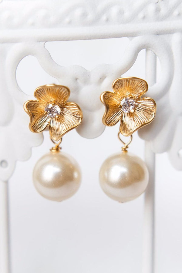 Classic flower and pearl bridal earrings, simple gold flower earrings, custom bridal jewelry by J'Adorn Designs