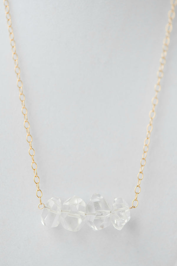 Minimal geometric crystal bar necklace with delicate gold chain, Modern luxury jewelry by J'Adorn Designs