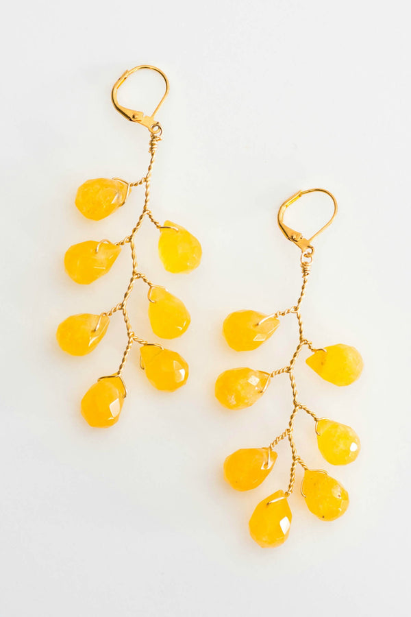 Lemonade earrings, Gold vine statement earrings, gemstone branch earrings by J'Adorn Designs