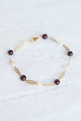 Classic gold filigree bracelet with burgundy and peach pearl accents, classic bracelet by J'Adorn Designs custom jewelry