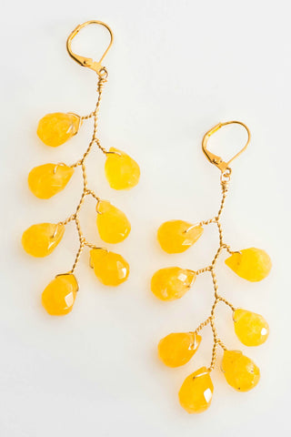 Gold vine statement earrings, gemstone branch earrings by J'Adorn Designs