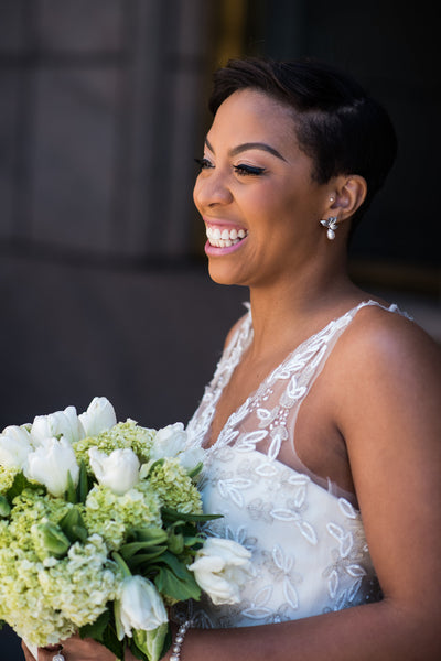 Modern classic pearl and leaf earrings for a black and white DC ballroom wedding, featured in Black Bride, by J'Adorn Designs custom jewelry