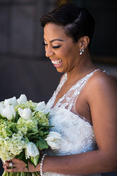 Modern classic pearl and leaf earrings for a short hairstyle, DC ballroom wedding inspiration featured in Black Bride, by J'Adorn Designs custom jewelry