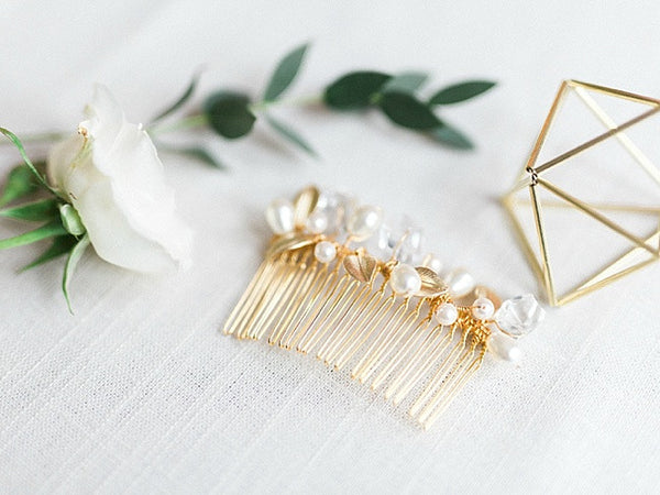 Modern geometric bridal hair comb with gold leaves by J'Adorn Designs custom jewelry