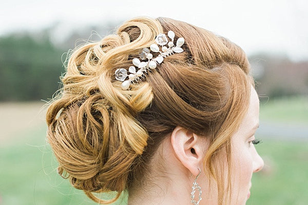 Modern geometric bridal hair comb with silver leaves by J'Adorn Designs custom jewelry