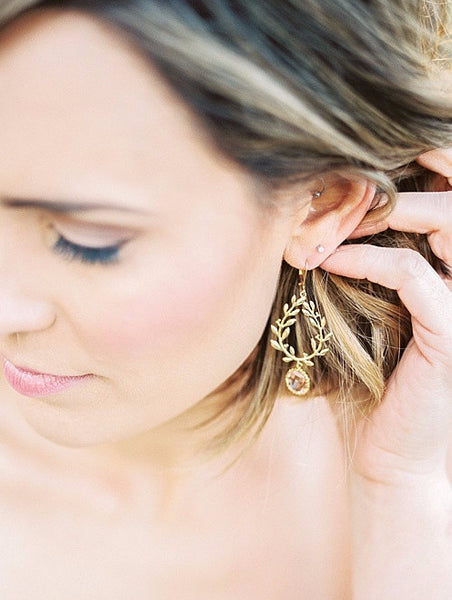Laurel gold wreath earrings with blush crystals, stylish bridal earrings by J'Adorn Designs custom jewelry, as seen in Ruffled