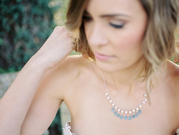 Blue crystal teardrop and freshwater pearl bib necklace by J'Adorn Designs custom jewelry